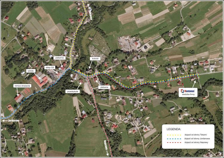 Mapa dojazdu do biura Montanus